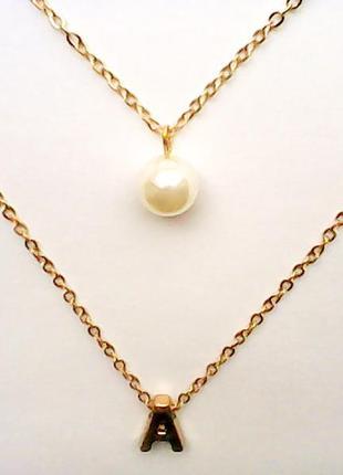 Комплект двойное украшение ожерелье колье подвеска жемчужина персональная буква кулон