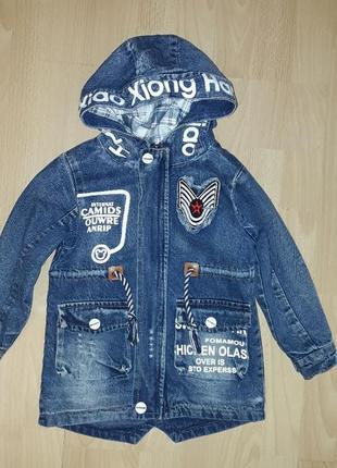 Новая джинсовая куртка курточка парка утепленная