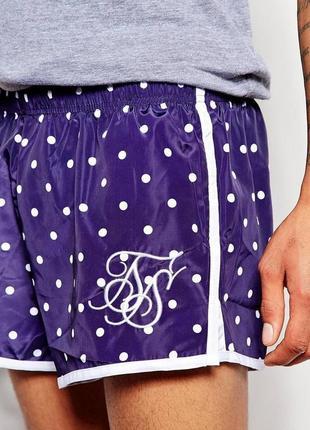 Мужские пляжные короткие шорты в горошек