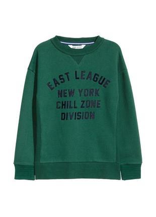 Новый зеленый свитшот с принтом для мальчика, h&m, 0541702