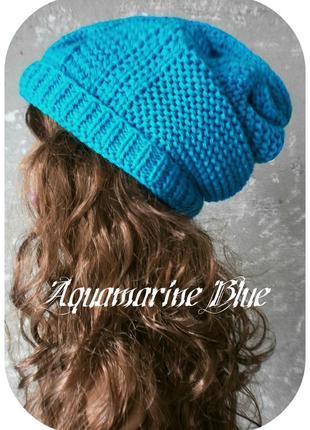 Любая расцветка! хлопковая фактурная шапка beanie с отворотом/косы/аквамариново-синий