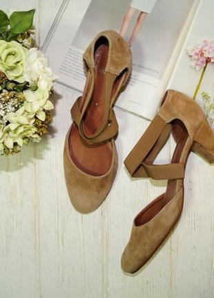 Manfield. кожа, замша. базовые открытые туфли на удобном каблучке