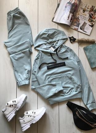 Мятный костюм худи и штаны