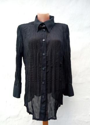 Красивая черная полупрозрачная блуза жатка,рубаха,большой размер.