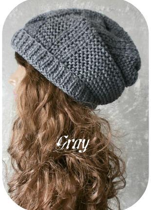 Любая расцветка! хлопковая фактурная шапка beanie с отворотом/косы/серого цвета