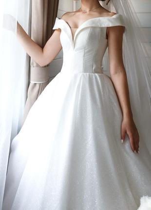 Шикарне весільне плаття з блискучим напиленням (фата в подарунок) можливий торг