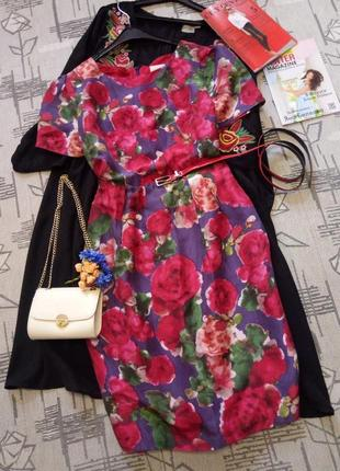 Красивое шелковое платье, размер 12-14