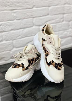 Стильные кроссовки с елементами леопардового принта в наличии