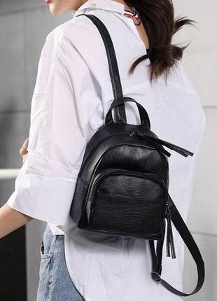 Стильный и лаконичный городской мини рюкзачок из эко-кожи маленький рюкзак