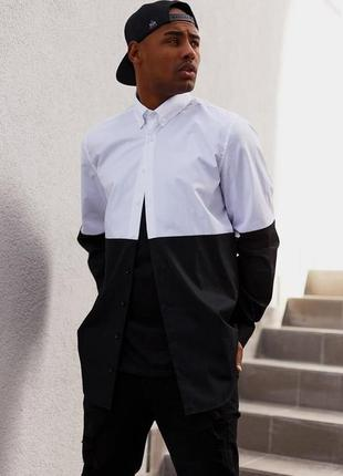 Рубашка мужская удлиненная white and black blvck limit