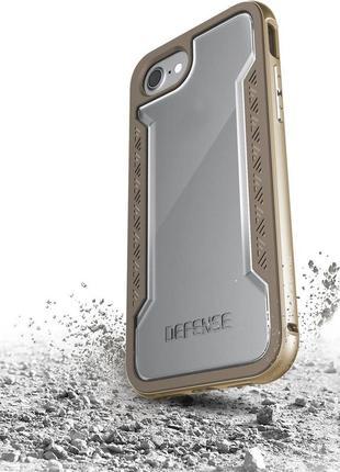 Аллюминиевый противоударный чехол для iphone 7 8 x-doria defense shield gold