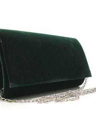 Зеленая маленькая сумка-клатч вечерняя выпускная велюровая на цепочке