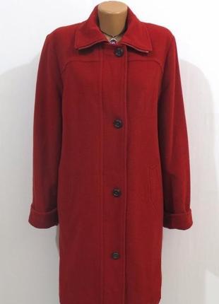 Шерстяное стильное бордовое длинное пальто от flare размер: 62-3xl, 4xl