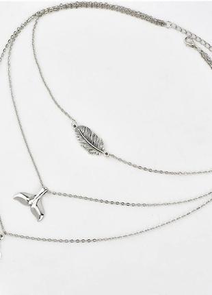 Серебристое украшение на шею многослойная подвеска символ ом аум перо хвост кита