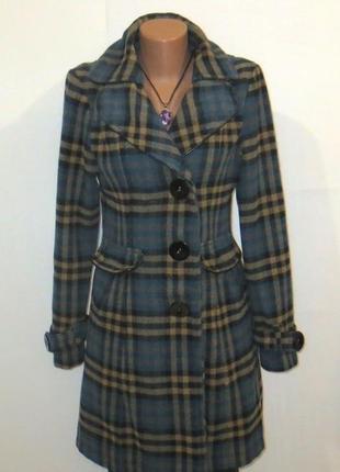 Длинное пальто в клетку с шерстью от cool ceeetahs размер: 44-s, m