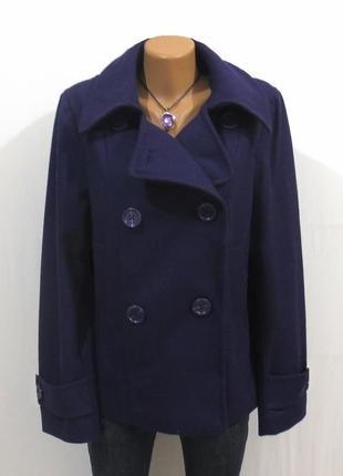 Шерстяное стильное фиолетовое пальто от h&m размер: 52-xl