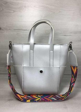 Серебристая женская сумка корзинка с короткими ручками.сумка шоппер из кожзама