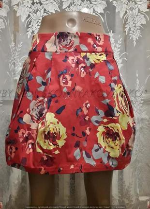 """Новая мини-юбка в яркий принт """"крупные розы"""" с натурального хлопка, размер м-л"""