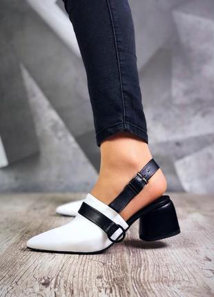 Натуральная кожа люксовые контрастные черно-белые туфли сабо с кольцом