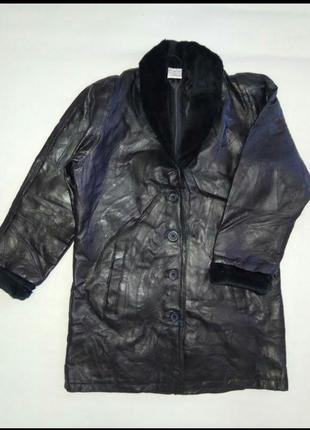 """Стильная натуральная кожаная куртка  свободного стиля """"тренч - бойфренд"""" anne de lancay ."""