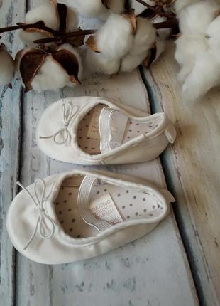Беленькие пинетки, туфельки h&m 14-15 размер на 3-6 мес