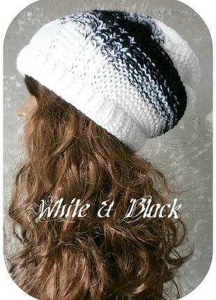 Любая расцветка! хлопковая фактурная шапка beanie с отворотом/косы/белого, чёрного цвета