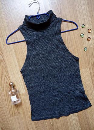 Водолазка без рукава в рубчик, new look, серая, размер (42;14;10)