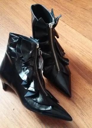Натуральная кожа ботинки на среднем каблуке zara2 фото