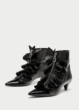Натуральная кожа ботинки на среднем каблуке zara3 фото