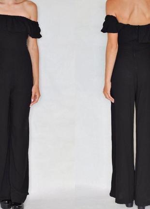 Комбинезон брючный с рюшами открытыми плечами h&m комбінезон штанами з відкритими плечами