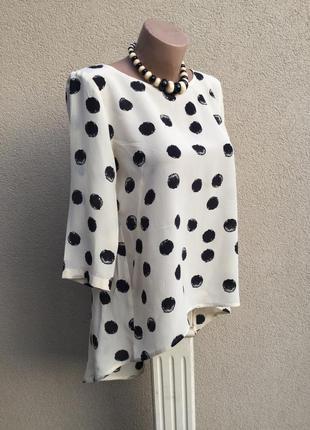 Дорогая,итальянская блуза,100%шелк,рубаха удлиненная по спинке,в большие горохи,