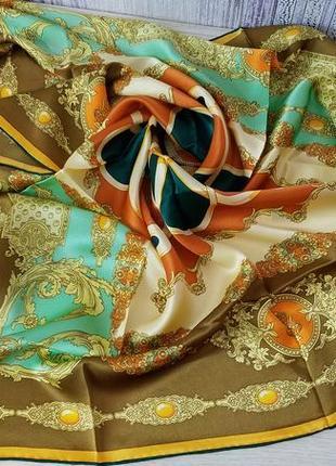 Шелковый большой платок. шов роуль.новый