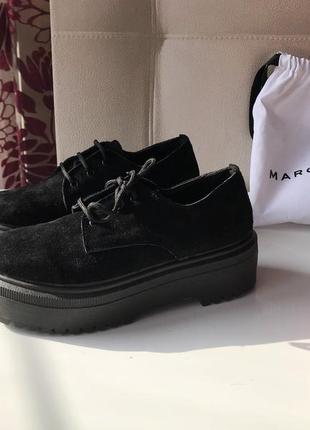 Ботинки на высокой подошве из натуральной замши на шнуровке5 фото