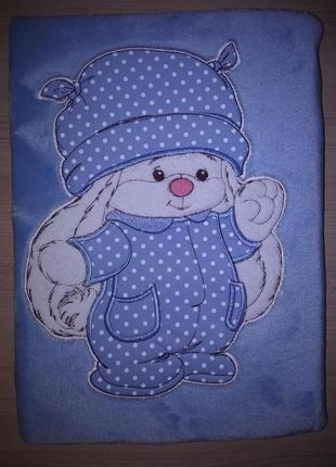 Плед флисовый детский с аппликацией голубой зайка