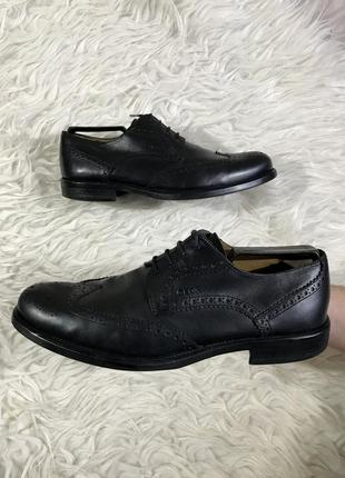 Качественные кожаные броги с перфорацией geox black leather brogues original