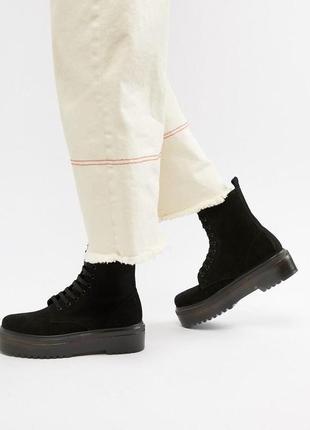 Крутые высокие замшевые ботинки - берцы на шнуровке, натуральная замша