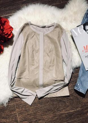 Шикарный облегающий свитер блуза с эко кожи