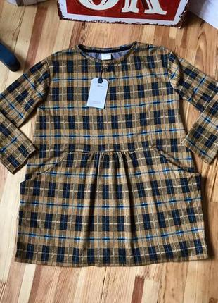 Горчичное платье zara в клетку на 9 лет