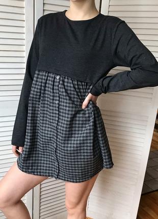 Чёрно-серое платье на девочку 158-164 см zara
