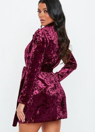 Бархатное платье пиджак с поясом2