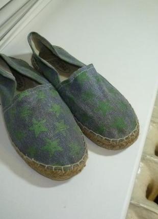Фирменные джинсовые балетки-эспадрильи на плетенной подошве,испания