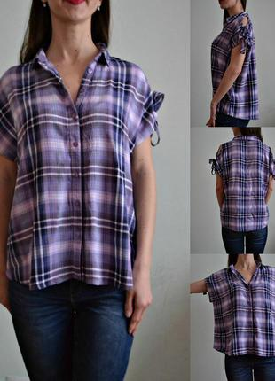 Рубашка в клетку с открытыми плечами и завязками
