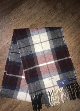 Италия! люкс бренд! новый шерстяной шарф gant.