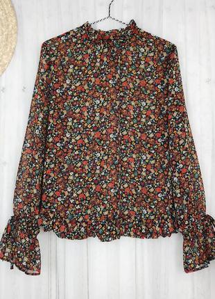 Шифоновая яркая блуза в цветочный принт с рюшами рукавами клеш высоким воротником papaya