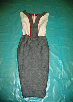 Футлярное льняное комбинированное платье\сарафан  рр 12
