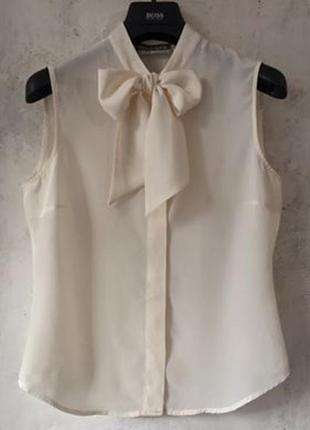 Блуза с бантом, натуральный шёлк, s-m