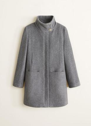 Последняя цена!!! актуальное стильное серое шерстяное пальто миди mango1 фото