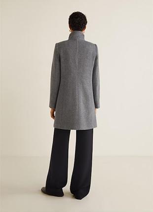 Последняя цена!!! актуальное стильное серое шерстяное пальто миди mango3 фото