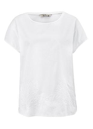 Белоснежная футболка с красивой вышивкой от tchibo - 100% хлопок2