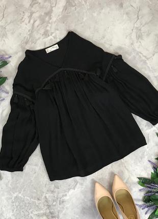 Вискозная блуза-оверсайз с оригинальными бубонами  bl1912019  mizumi